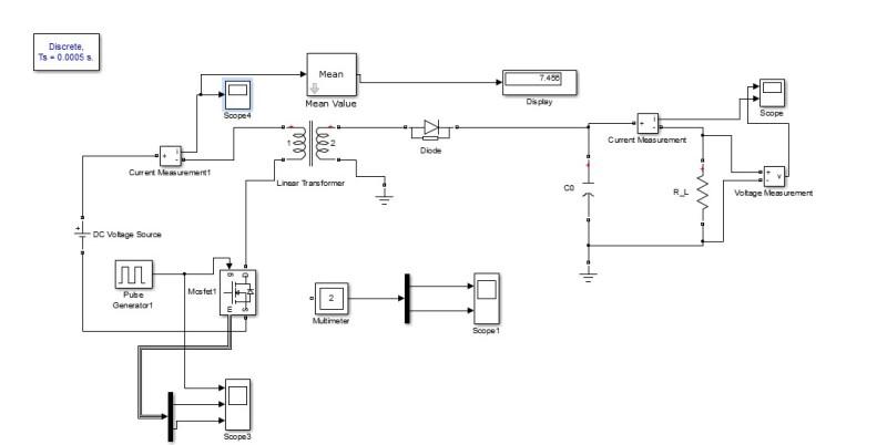 شبیه سازی مبدل فلای بک FLYBACK CONVERTER در نرم افزار متلب