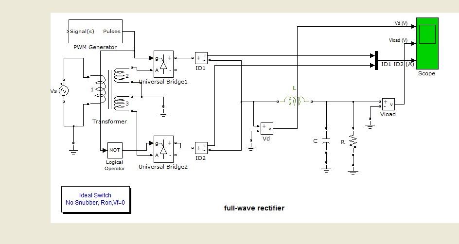 شبیه سازی یکسوساز تمام موج با کنترلر PWM در نرم افزار متلب