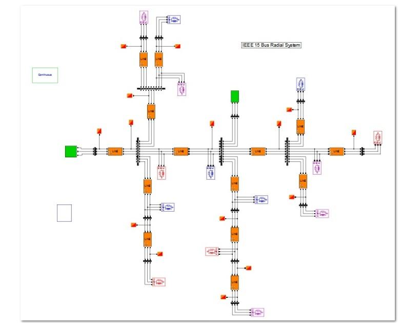 شبیه سازی شبکه 15 باس شعاعی برق با استاندارد IEEE در نرم افزار متلب