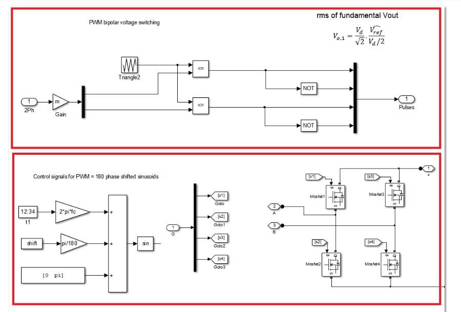 دانلود شبیه سازی اینورتر تک فاز پل کامل با استفاده از مدولاسیون PWM دو قطبیدر نرم افزار متلب