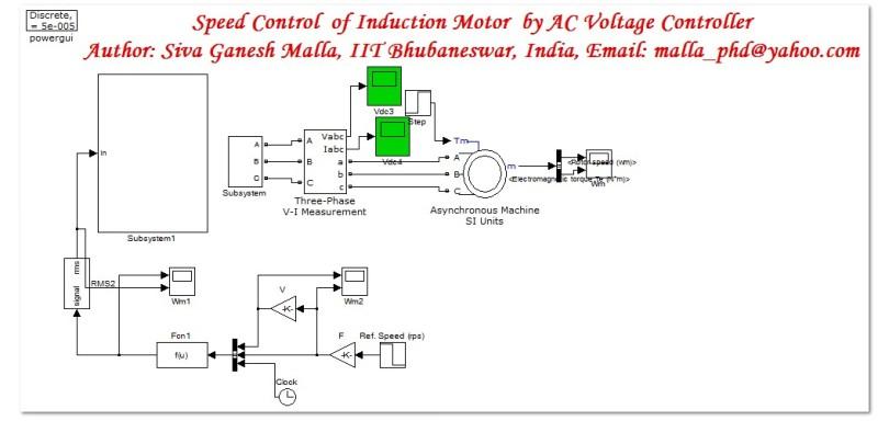 مدلسازی کنترل سرعت موتورالقایی به روش کنترل ولتاژ در نرم افزار متلب