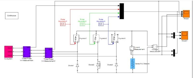 مدلسازی یکسوساز سه فاز نیم موج کنترل شدهدر نرم افزار متلب
