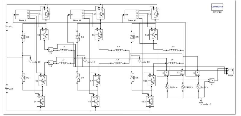 مدلسازی اینورتر سه سطحی  NPC با کنترل جریان هیسترزیس