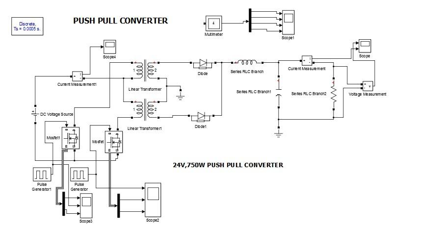 مدلسازی مبدل پوش پول PUSH PULL CONVERTER در نرم افزار متلب
