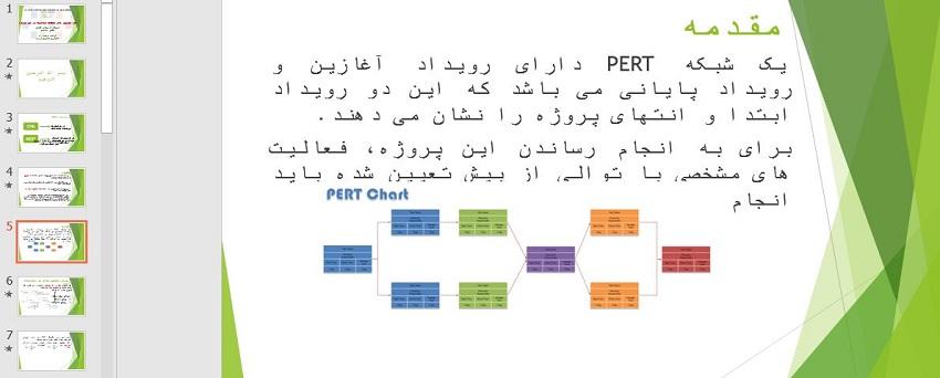 """دانلود فایل پاورپوینت درباره """"اثر توزیع های مختلف فعالیت در طی پروژه در شبکه های PERT"""""""