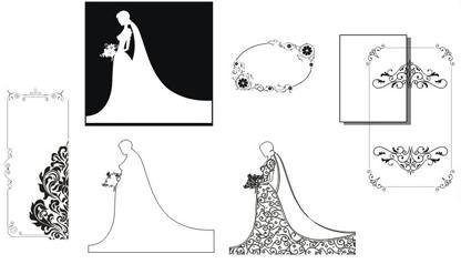 لباس و کادر کارت عروس کورل 12 و EPS