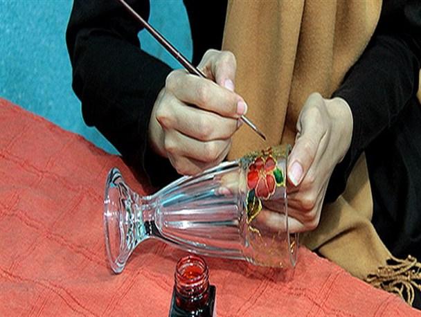 نقاشی روی شیشه و کریستال و سرامیک با آب طلا