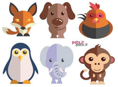 تعداد 24 آیکن حیوانات کارتونی