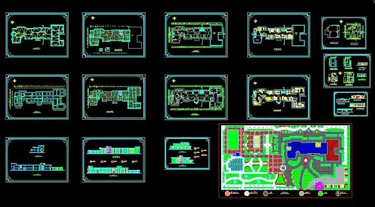 پلان و نقشه های اتوکدی هنرستان12 کلاسه 2 طبقه ای - نمونه اول